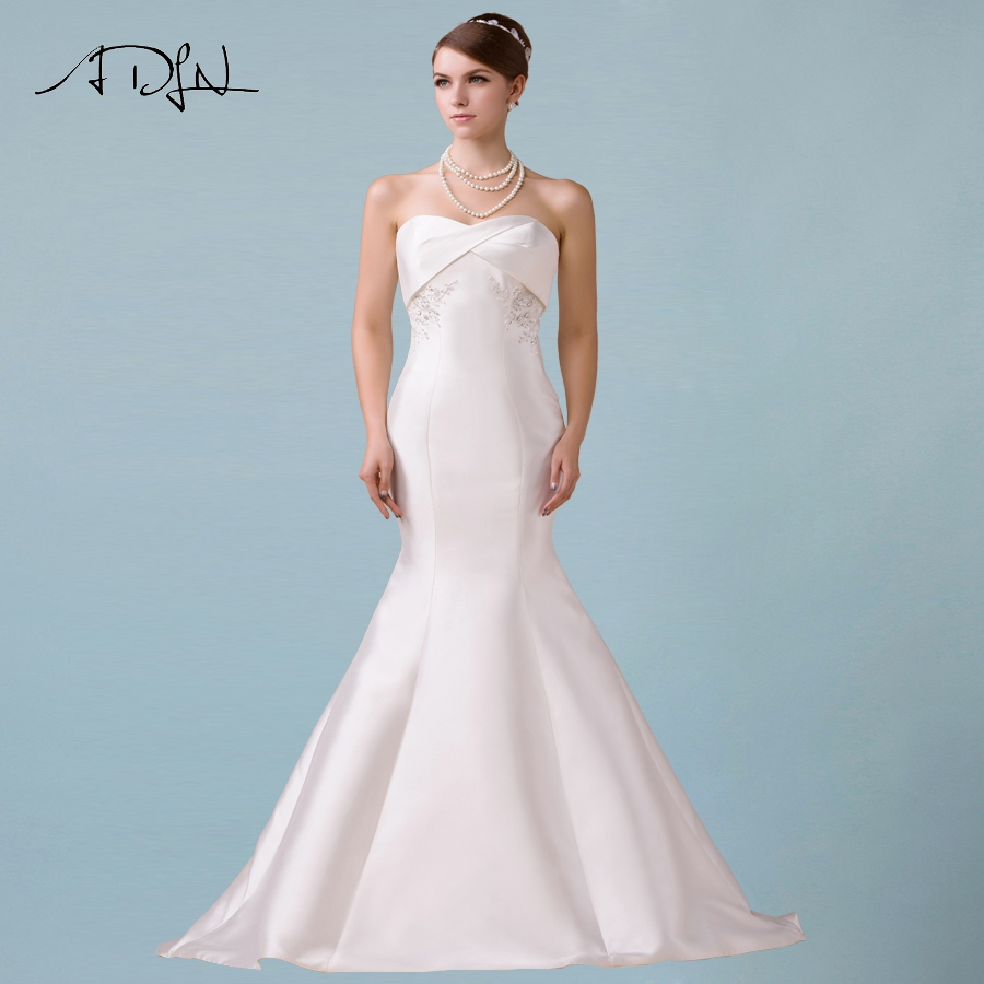 ADLN Simple Mermaid Wedding Dress Sweetheart Sleeveless Applique Beading Satin Wedding Dresses Sweep Train Zipper Back
