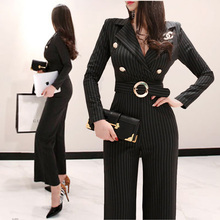 Spring Rompers Women Striped Jumpsuit Autumn Elegant Office Lady Work