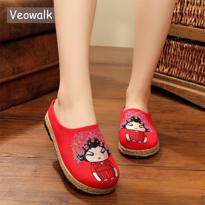 Veowalk Handmade Cartoon Embroidered Women Cute Linen Cotton Slippers Summer Fashion Ladies Comfort Slides Shoes Zapatos Mujer