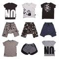 Pré-encomenda Bobozone Splash T-Shirt Cru Tops Letra Da Cópia Da Mão NÃO T para meninos meninas nununu