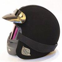 VOSS PU Leather Harley 3/4 Chopper Bike open face vintage motorcycle helmet Antique motorcycle