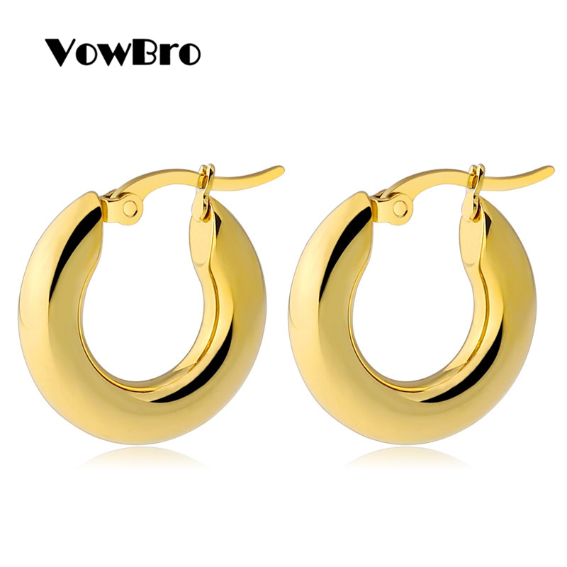 VowBro Gold Color Circle Creole Earrings, Stainless Steel Big Round Wives Hoop Earrings Gifts For Women