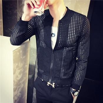 Spring Summer Club Outfit White Black Mens Cool Mesh Jacket Outwear Retro Fashion Clothes Baseball