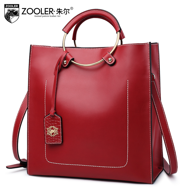 genuine leather bag ZOOLER 2018 woman leather handbag cowhide bag shoulder bags stylish hot decorate solid