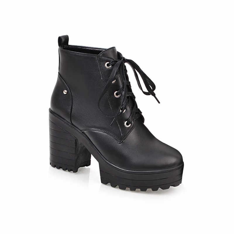 YMECHIC Lace Up Boots Kadın Blok Topuklu Punk platform ayakkabılar Siyah Sarı Kahverengi Gotik Savaş yarım çizmeler Kadınlar için Artı Boyutu