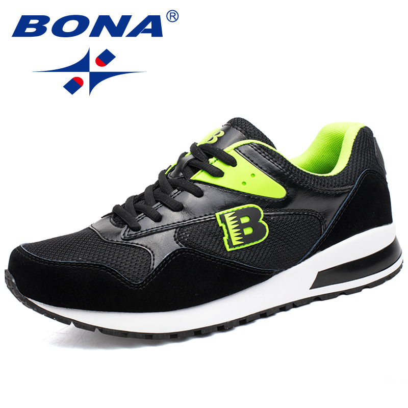 BONA New Hot Style Men Running Shoes Lace Up Sport Shoes Outdoor Jogging Walking Sneakers Comfortable Athletic Shoes Soft Light peak sport men outdoor bas basketball shoes medium cut breathable comfortable revolve tech sneakers athletic training boots