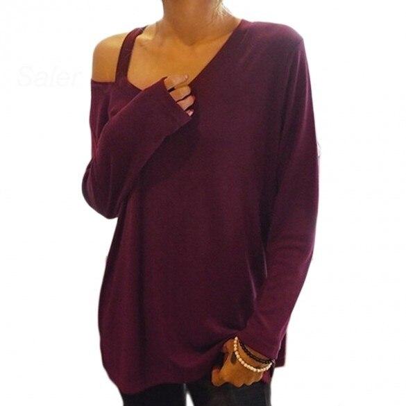 7486d482770 Spring Winter Women One Shoulder Side Strap Long Sleeve Casual Tshirt Loose  Oversize Tops women's shirts Asymmetric Neck Blusas