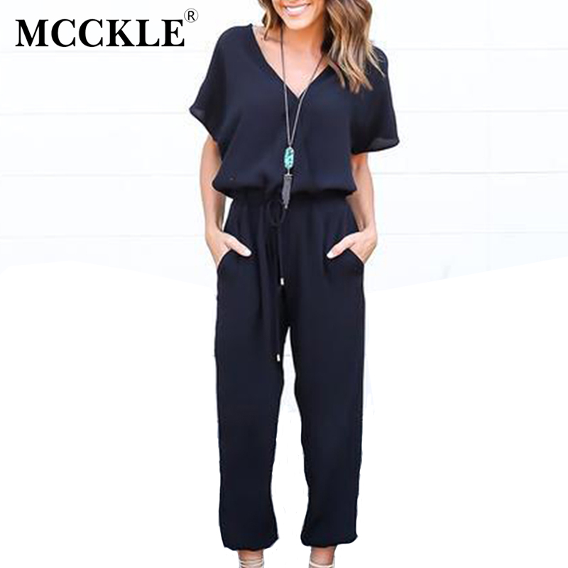 MCCKLE Fashion Short sleeve Office Women Jumpsuit V-Neck Tied Waist summer romper Pockets coveralls Sexy playsuit women