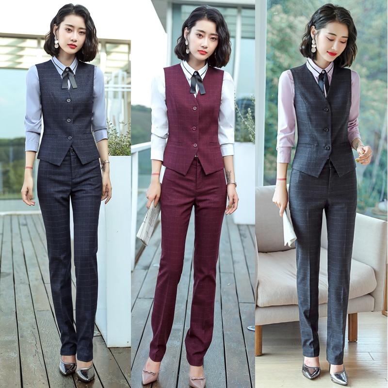 Women Suits Plaid Blazer Set Office Lady Blazer & Suits Jacket Long Pants Skirt Vest Solid Shirt England Vintage Jakcet Formal