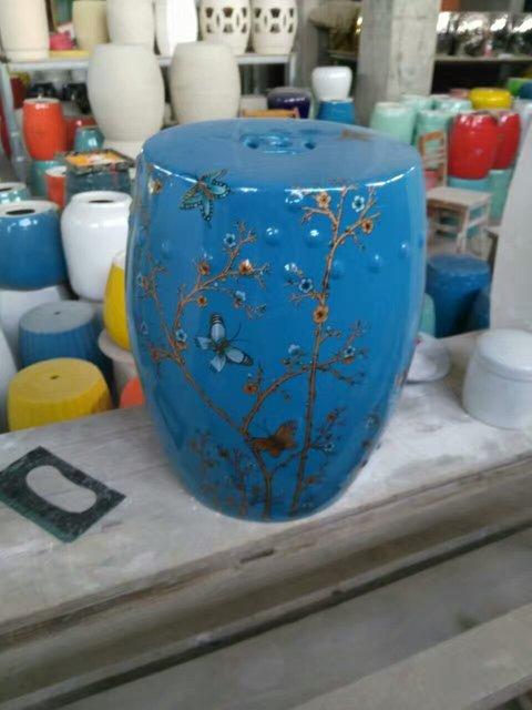 Butterfly Jingdezhen Porcelain Garden Stool Ceramic Stool For Dressing  Table Drum Chinese Black Ceramic Garden Stool