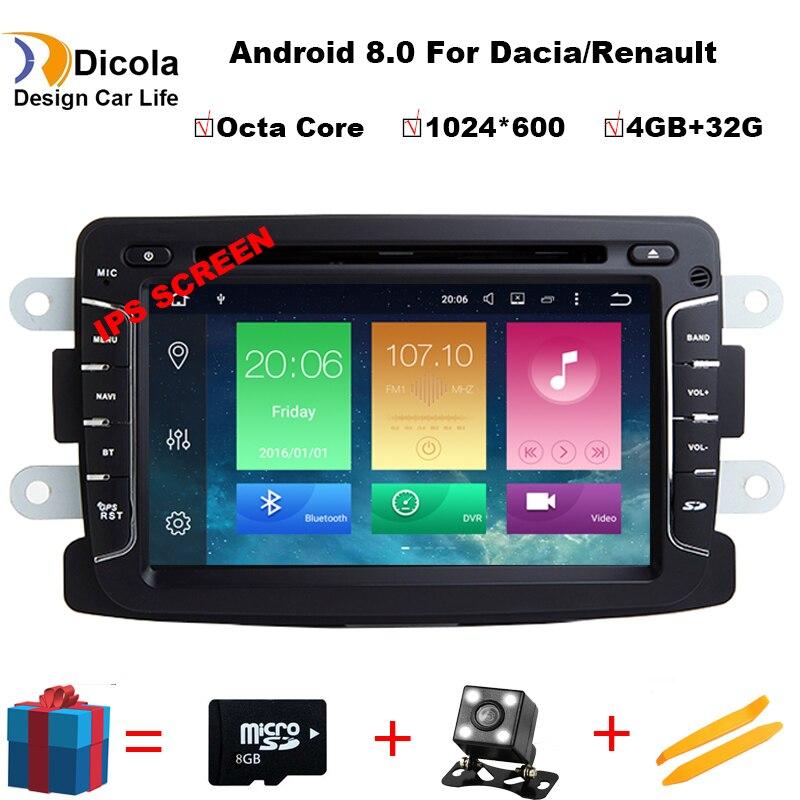 Android 8,0 Octa Core 4 Гб + 32 gps Навигатор Радио для Dacia Renault Duster Logan Sandero автомобильный DVD центральный кассетный плеер