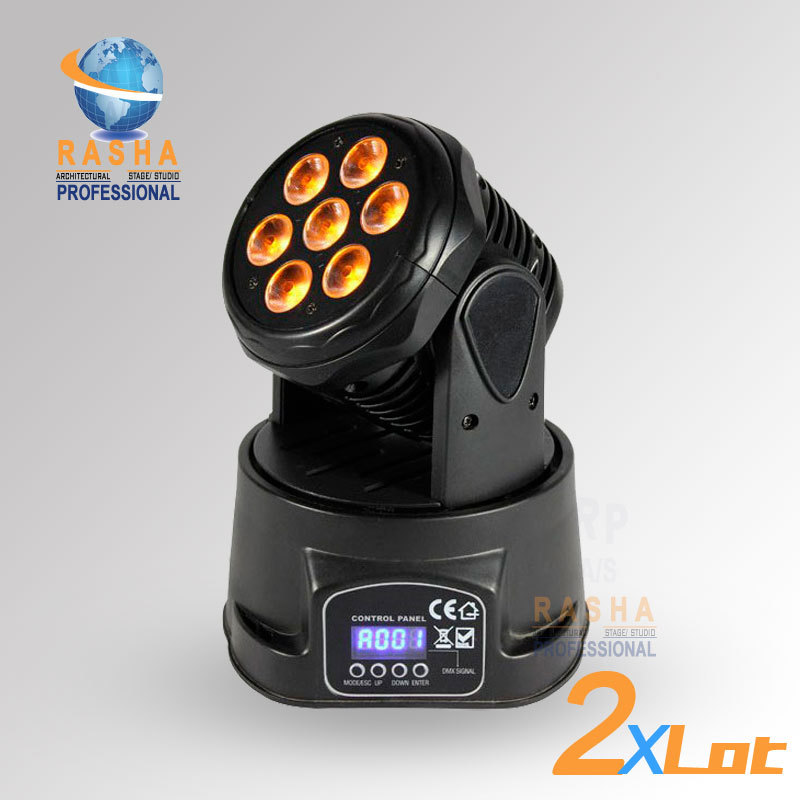 2X LOT Factory Price Freeshipping 7pcs*12W 4IN1 RGBW MINI LED Moving Head Wash Light,ED Moving Head For Event,Disco Party