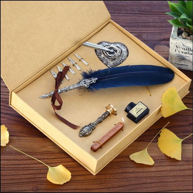 Cadeau Boîte Vintage Harry Potter Métal Courbé Naturel Turquie Plume Pen Set avec 5 plumes, porte-stylet, timbre, cire Plume Signature Stylo