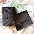 Vintage Genuine Leather Wallet For Men Women Bulls Cowhide Big Capacity Short Wallets With Buckle Coin Purse Zipper Pocket Bag