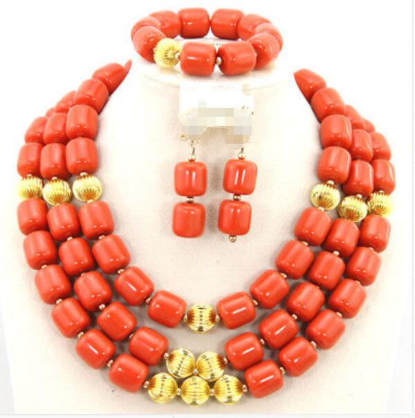 Nigerian Wedding Coral Beads Wedding Necklace Women Costume Bridal Jewelry Sets 18Nigerian Wedding Coral Beads Wedding Necklace Women Costume Bridal Jewelry Sets 18