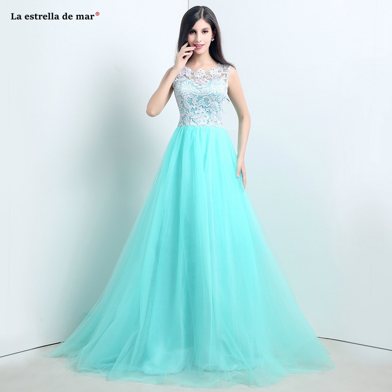 Maid Of Honor Dresses For Weddings2019 New Tulle Lace Button A Line Turquoise Bridesmaid Dress Long Brautjungfernkleid Cheap