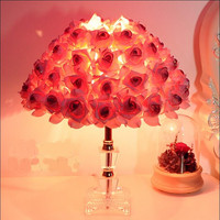 Modern Fashion Creative Romantic Fabric Pink Roses Crystal Led E27 Table Lamp for Wedding Decor Valentine's Day Present 1326