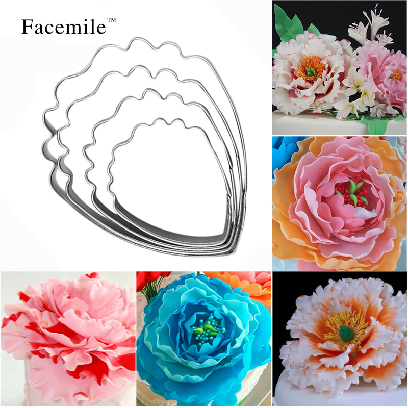 Herba Peony Flower Stainless Steel Cookie Cutters Fondant Cake Decoration Cake Baking Tools 4pcs set 51050 Gift