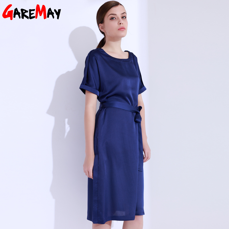 Satin Dress Women Elegant Large Sizes Blue Dress O-Neck Bow Office - Women's Clothing