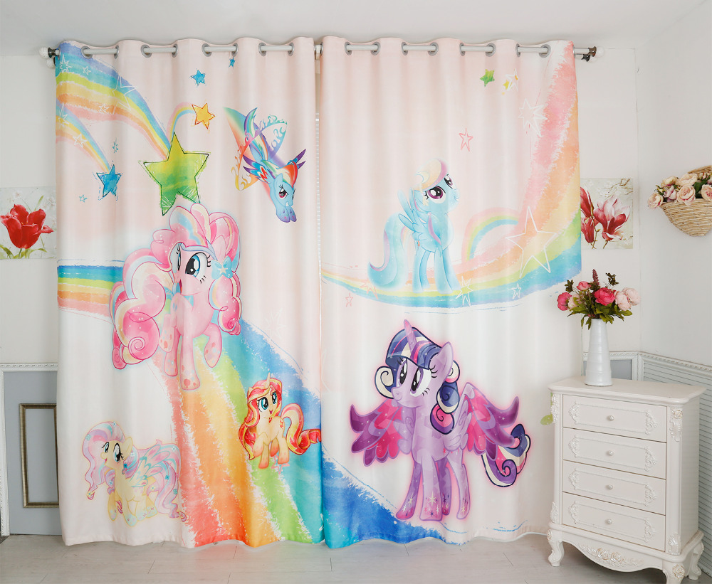 New 3D Blackout Curtains My Little Pony Pattern Flannel Thickened Bedroom  Girl Curtains Cartoon Tulle Curtain