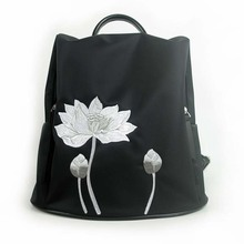 2019 new women's shoulder bag Messenger bag Chinese style lotus & fish embroidery lotus bag retro black simple fashion hand цена и фото