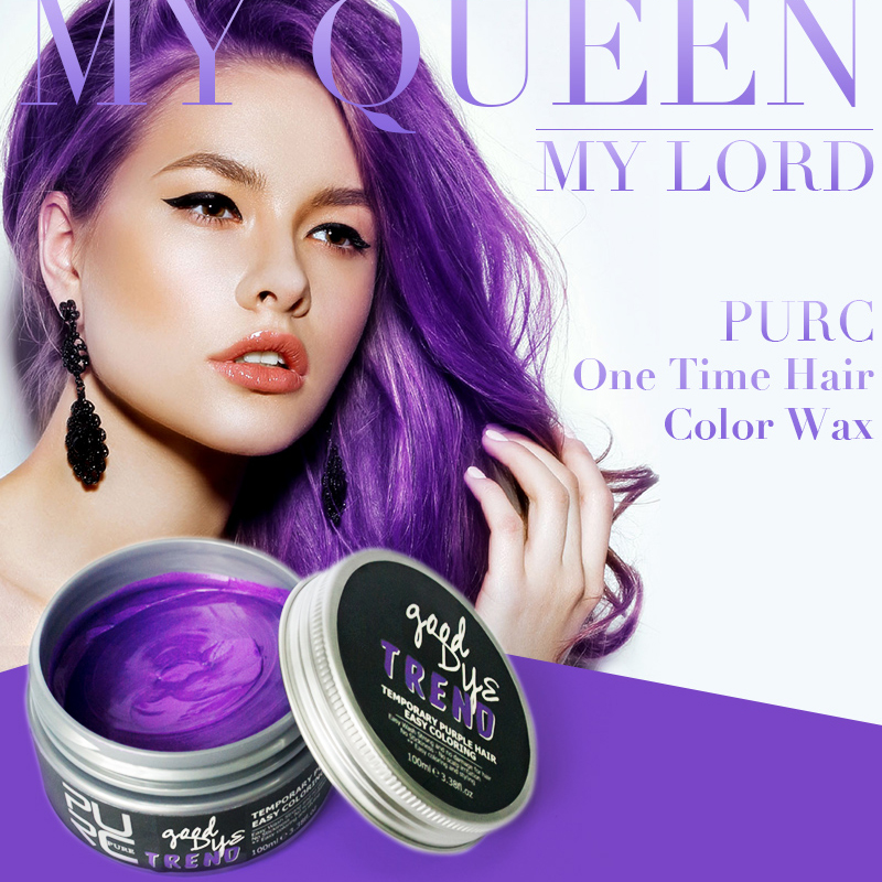 PURC One-off Hair Color Dye Temporary Non-toxic DIY Hair Color Cream Washable One-time Hair Dye Wax Blue Grey Purple 100ml