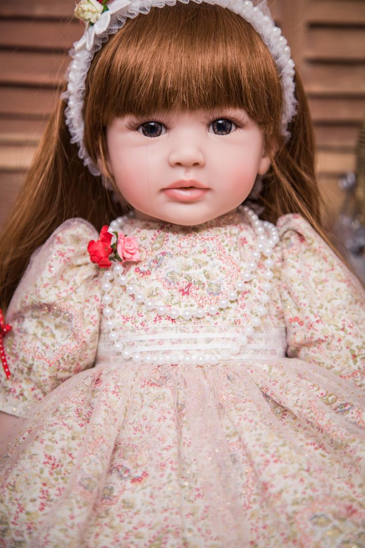 New Commodity 55cm Silicone Vinyl Reborn Baby Doll Fashion Princess Accompany Doll Birthday Gift Present For Kid Girl Brinquedos new fashion design reborn toddler doll rooted hair soft silicone vinyl real gentle touch 28inches fashion gift for birthday