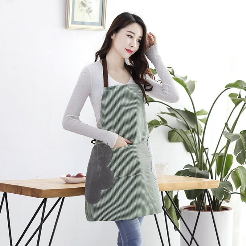 Image 2 - Abrasion Hand Apron Waterproof And Oil Proof Striped Apron Female Chef Adjustable Baking Accessories Commercial Restaurant-in Aprons from Home & Garden