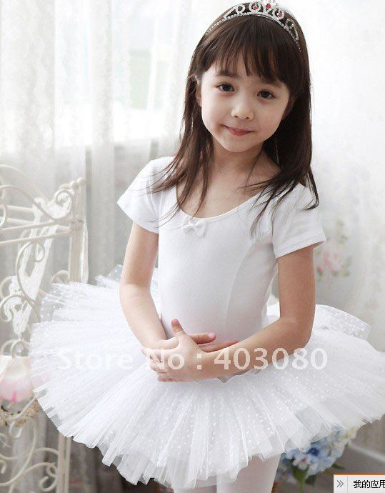 Child ballet skirt short sleeve ballet skirt girl clothing leotard size:M-XXL