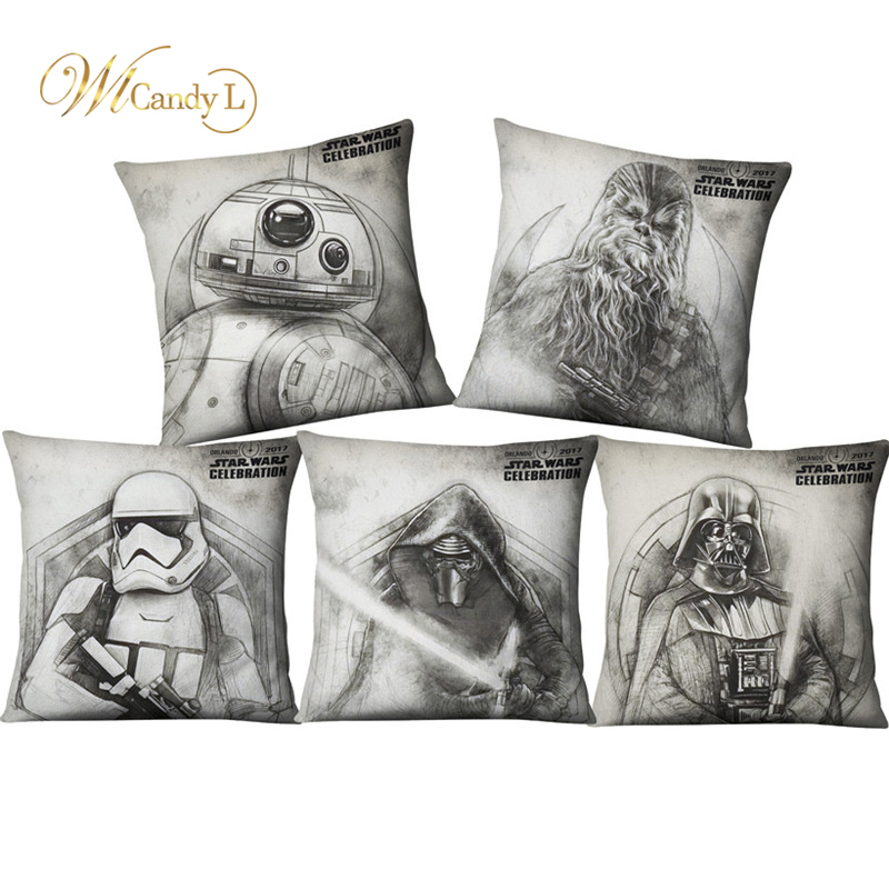 WL Candy L Movie Star Wars Sketch Hand-Drawn Cartoon Cushion Cover Home Decoration Sofa Office Decor 45*45cm Linen Pillow Cover