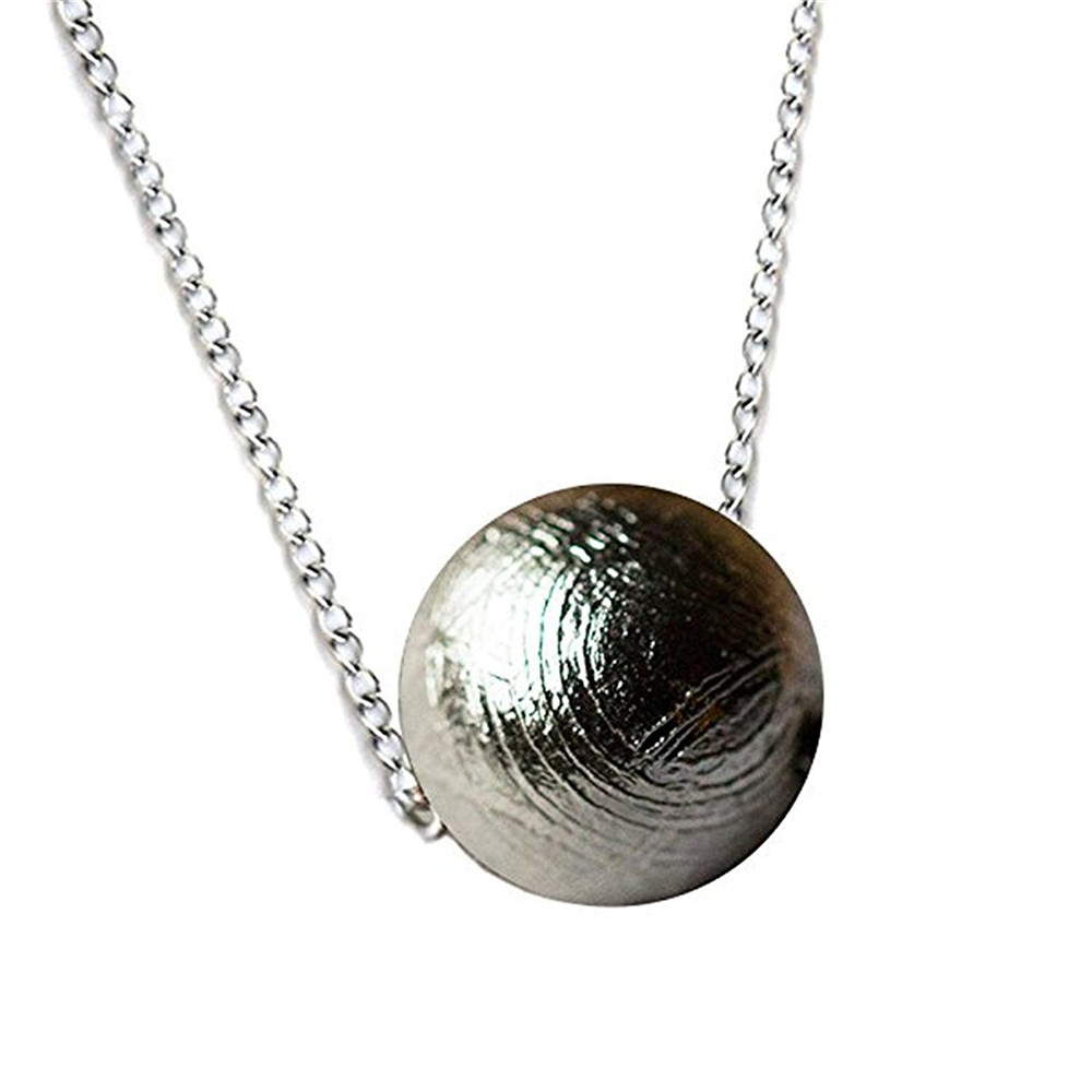 7-16mm Natural Gibeon Iron Meteorite Pendant For Women Men Gift 925 Silver Chains Round Beads Fashion Necklace Pendant AAAAA