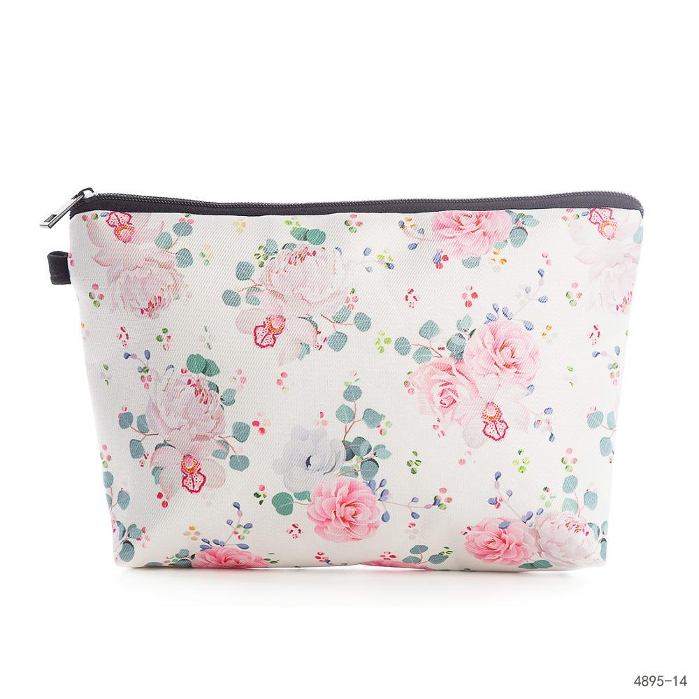 Miyahouse Flower Printed Women Mack UP Bag High Quality Canvas Design Female Cosmetic Bag Mini Fashion Travel Bag For Girls