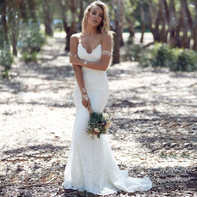 Top 2016 Simples Sexy Lace Backless Da Sereia Longo Vestido de Noiva  FY86