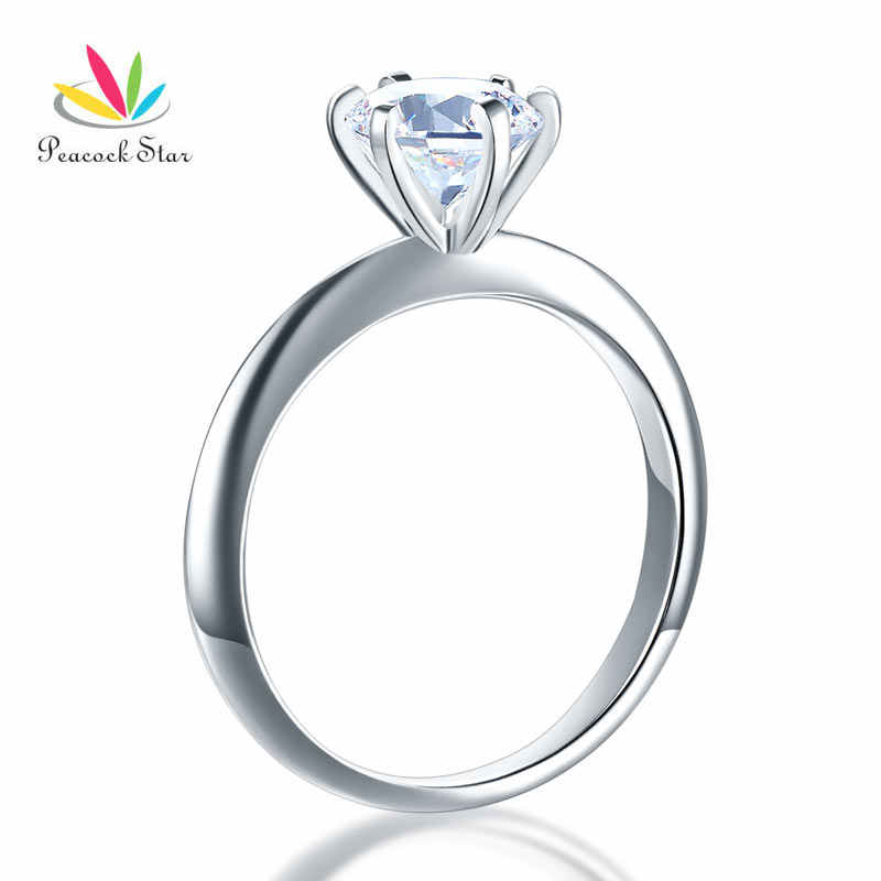 Peacock Sao 6 Móng Vuốt Cưới Promise Engagement Ring Solitaire Rắn 925 Sterling Silver Jewelry 1.25 Ct CFR8002