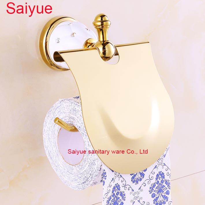 Luxury Style Gold Color Bathroom Roll Paper Holder Wall