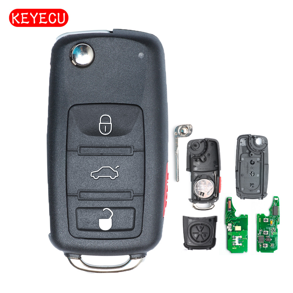 Keyecu Keyless Go Function Replacement Flip Remote Car Key Fob 3 Button 433MHz ID46 For VW-Volkswagen Touareg 2002-2010
