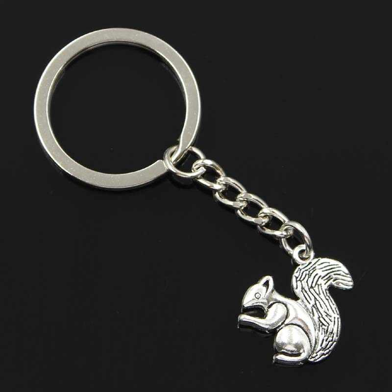 new fashion men 30mm keychain DIY metal holder chain vintage double sided squirrel 21x21mm silver pendant Gift
