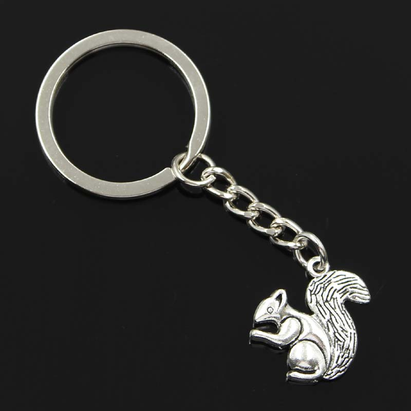 New Fashion Men 30mm Keychain DIY Metal Holder Chain Vintage Double Sided Squirrel 21x21mm Silver Color Pendant Gift