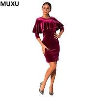 MUXU Velvet Dress Vestidos Sexy Plus Size High Quality Women Fashion Womens Clothing Fashionable Dresses BLACK