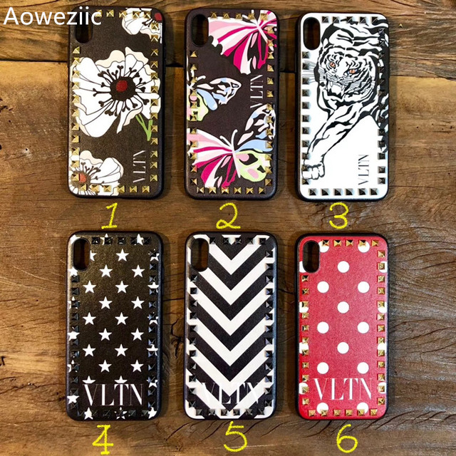 wholesale dealer 60e95 3019b US $9.39 5% OFF|Aoweziic Europe and the United States for iphone xs max xr  phone case VLTN rivet design all inclusive 6s 7 8plus tide shell-in Fitted  ...