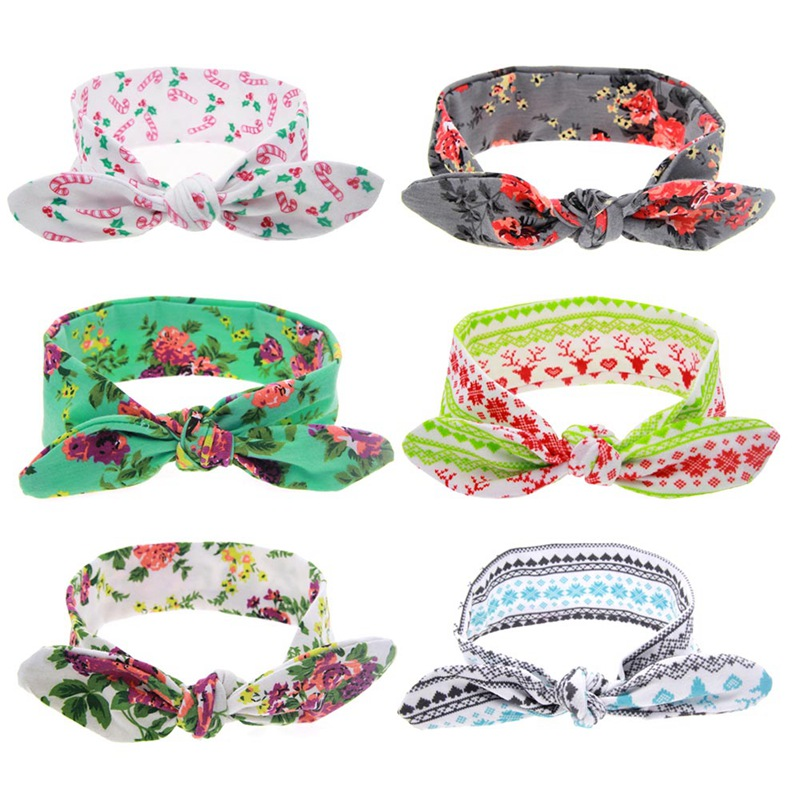 Newborn Flowers Print Floral Butterfly Bow Hair Band Girls Turban Knot Headbands Children Headwear Baby Hair Accessories 3pcs lot lovely printed floral fabric bow headband striped dots knot elastic nylon hair band for girl children headwear