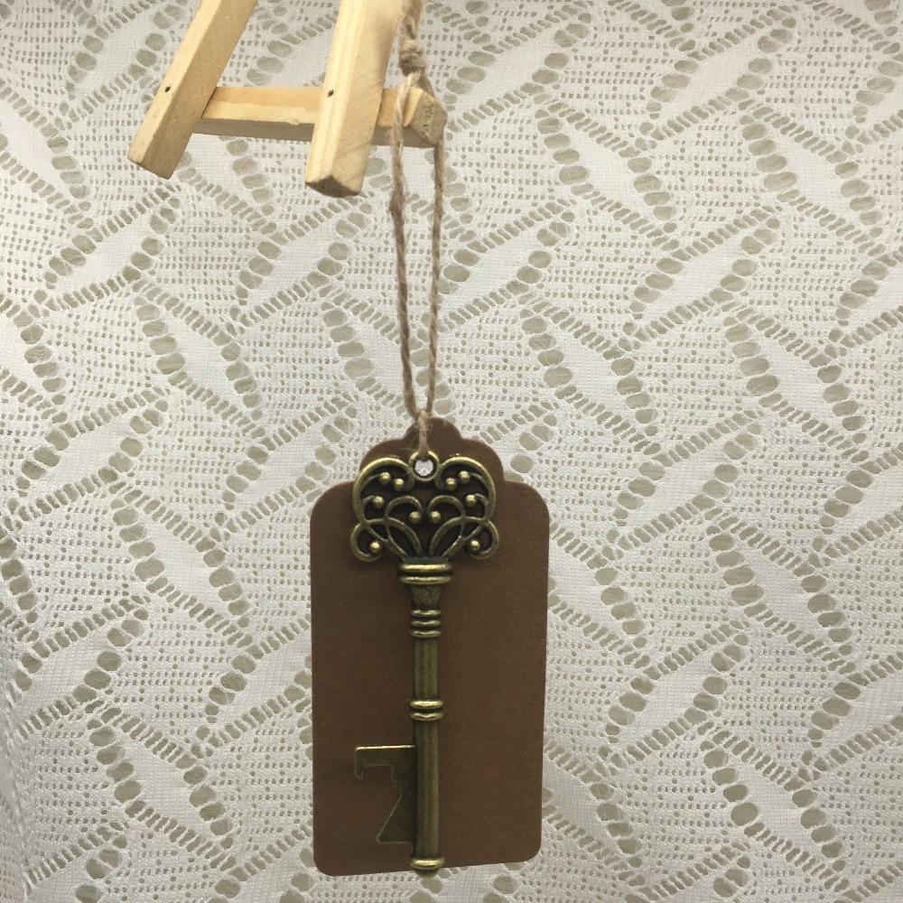 50pcs DIY Wedding Souvenirs Skeleton Key Bottle Opener with Tags ...