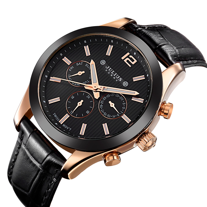 Real Functions JULIUS Men's Watch ISA Quartz Hours Business Clock Bracelet Leather Boy Birthday Christmas Valentine Gift real multi functions big men s watch japan mov t hours business top homme clock stainless steel boy s birthday gift julius box
