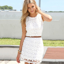2018 new summer autumn white red green cute sundress solid colors elegant floral lace Crochet women