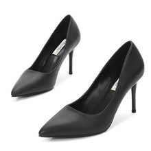 Brand New Pointed Toe High Heels Sexy Genuine Sheepskin Leather Elegant Women Shoes Thin Heeled Party Office Pumps Shoe E0016 2018 new autumn women genuine leather shoes pointed toe dress pumps buckle strap sheepskin high heeled shoes fashion rubber sole