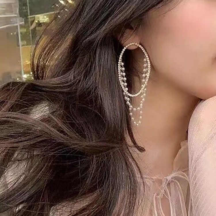 MENGJIQIAO 2019 Exaggerate Full Shiny Rhinestone Oval Circle Drop Earrings For Women Simulated Pearls Tassel Elegant Pendientes