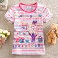 PURO Novo 2016 do bebê roupas de menina T-shirt pássaro bonito meninas impressão bordado 100% algodão Tshirts crianças roupas K4488 #