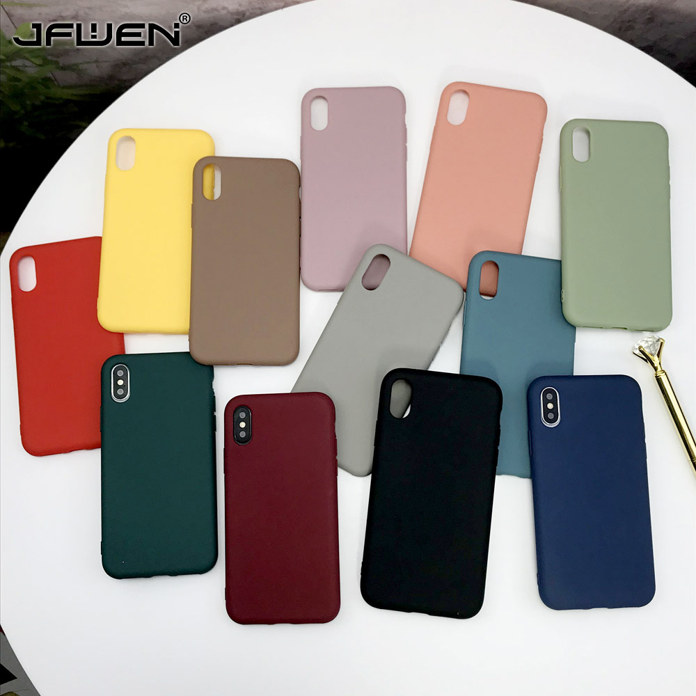 Matte Phone Case For iPhone XR XS MAX X XS 6 6S 7 8 Plus Case Simple Solid Color Ultrathin Soft TPU Cases Candy Color Back Cover