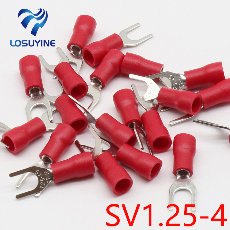 100Pcs SV1.25-3 Insulated Fork Spade Wire Connector Electrical Crimp Terminal 22-16AWG U-Type Red