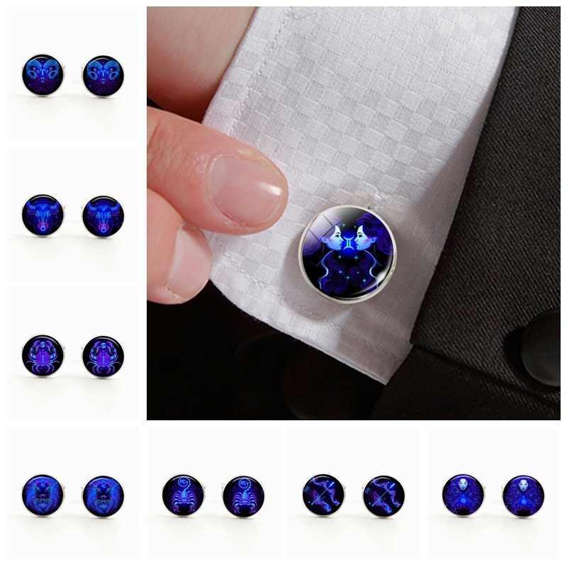 12 zodyak işareti gümüş kaplama erkekler gömlek kol düğmeleri cam Cabochon Cuffl kol düğmeleri takı doğum günü hediyesi